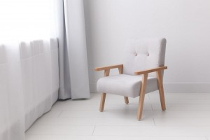 Armchair for childrens room - light grey velour
