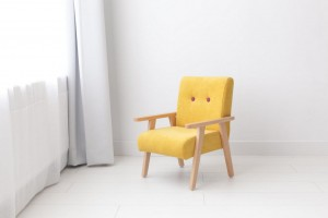 Armchair for childrens room - yellow velour
