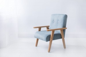 Armchair for childrens room - mintgrey velour