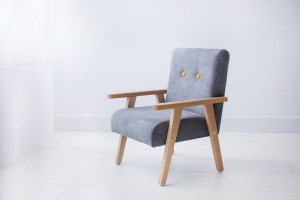 Armchair for childrens room - grey velour