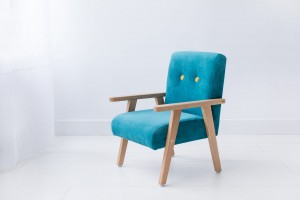 Armchair for childrens room - turquoise velour