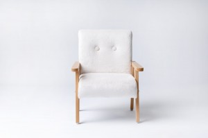 Armchair for childrens room - fur fabric white
